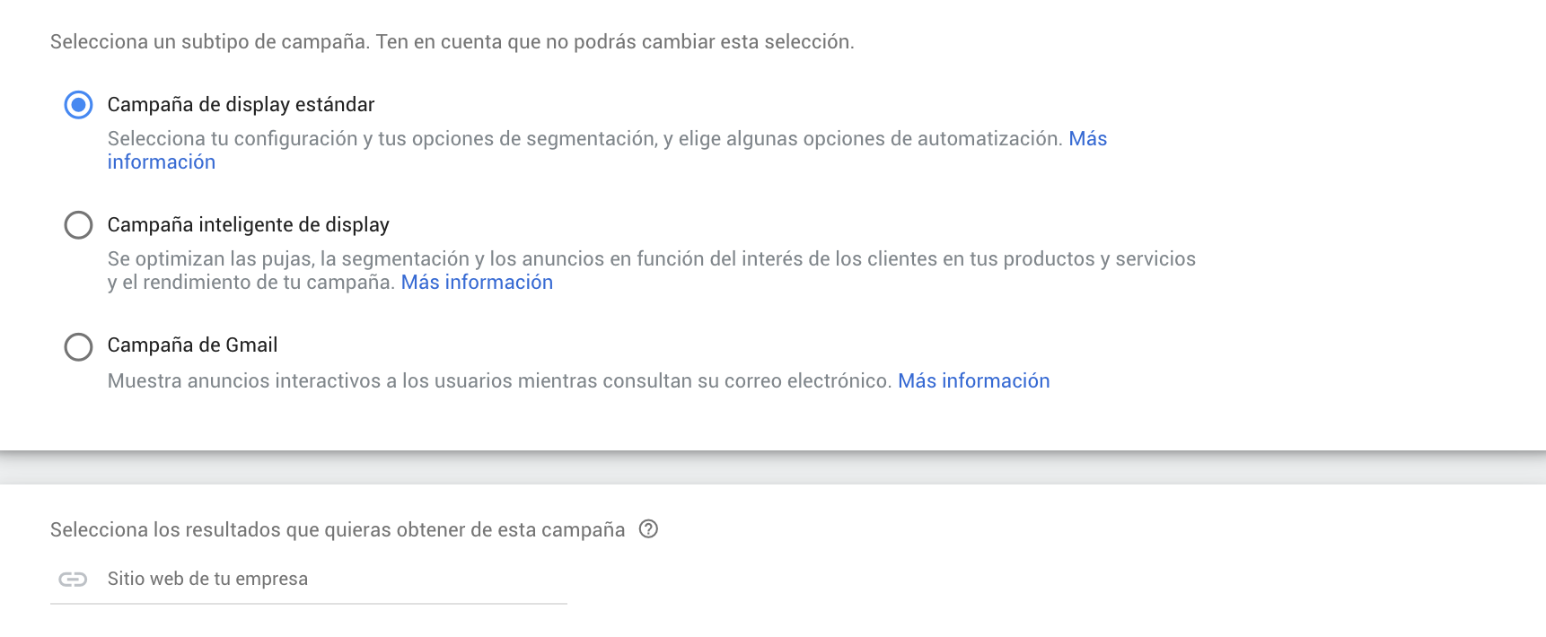 configurar campaña y red de display